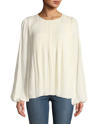 Elizabeth & James Grove Long-Sleeve Pleated Blouse