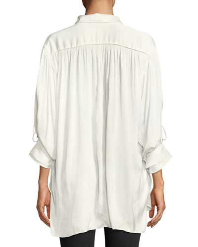 Ruched Satin Button-Up Blouse