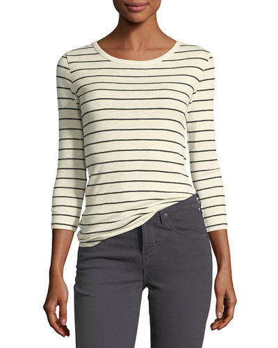 Chalk-Stripe Crewneck 3/4-Sleeve Top