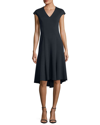 Moriah Knit V-Neck A-Line Dress
