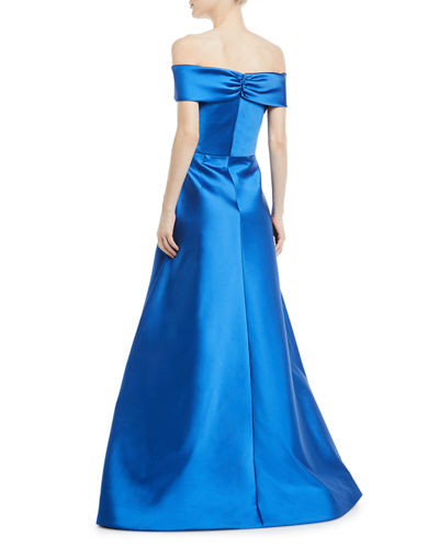 Metallic Stretch Crisscross Off-the-Shoulder Gown