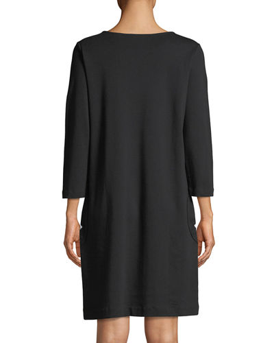 Circle-Pocket Cotton Shift Dress, Plus Size