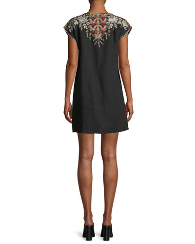 Allya Embroidered Linen Tunic Dress, Plus Size