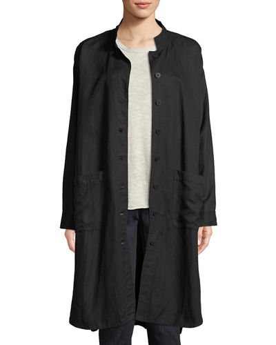 Knee-Length Stand-Collar Jacket