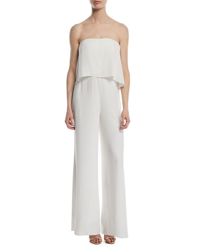 Topanga Popover Strapless Wide-Leg Jumpsuit