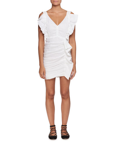 Topaz V-Neck Sleeveless Ruched Short Dress