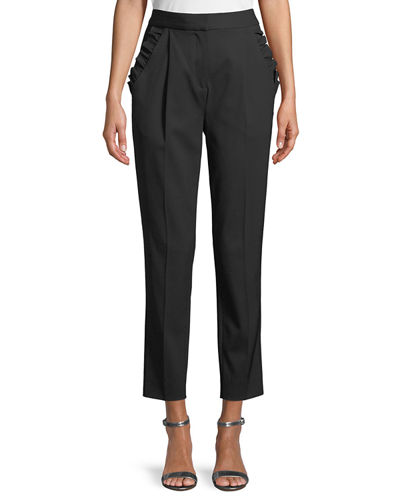Spring Ruffle Straight-Leg Wool Pants