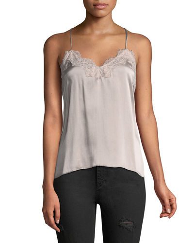 The Racer Silk Charmeuse Camisole w/ Lace