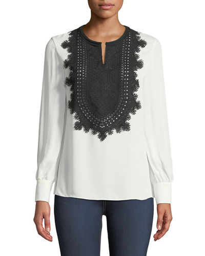 Cambria Long-Sleeve Silk Blouse