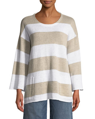 Eileen Fisher Organic Linen Striped Knit Top, Plus