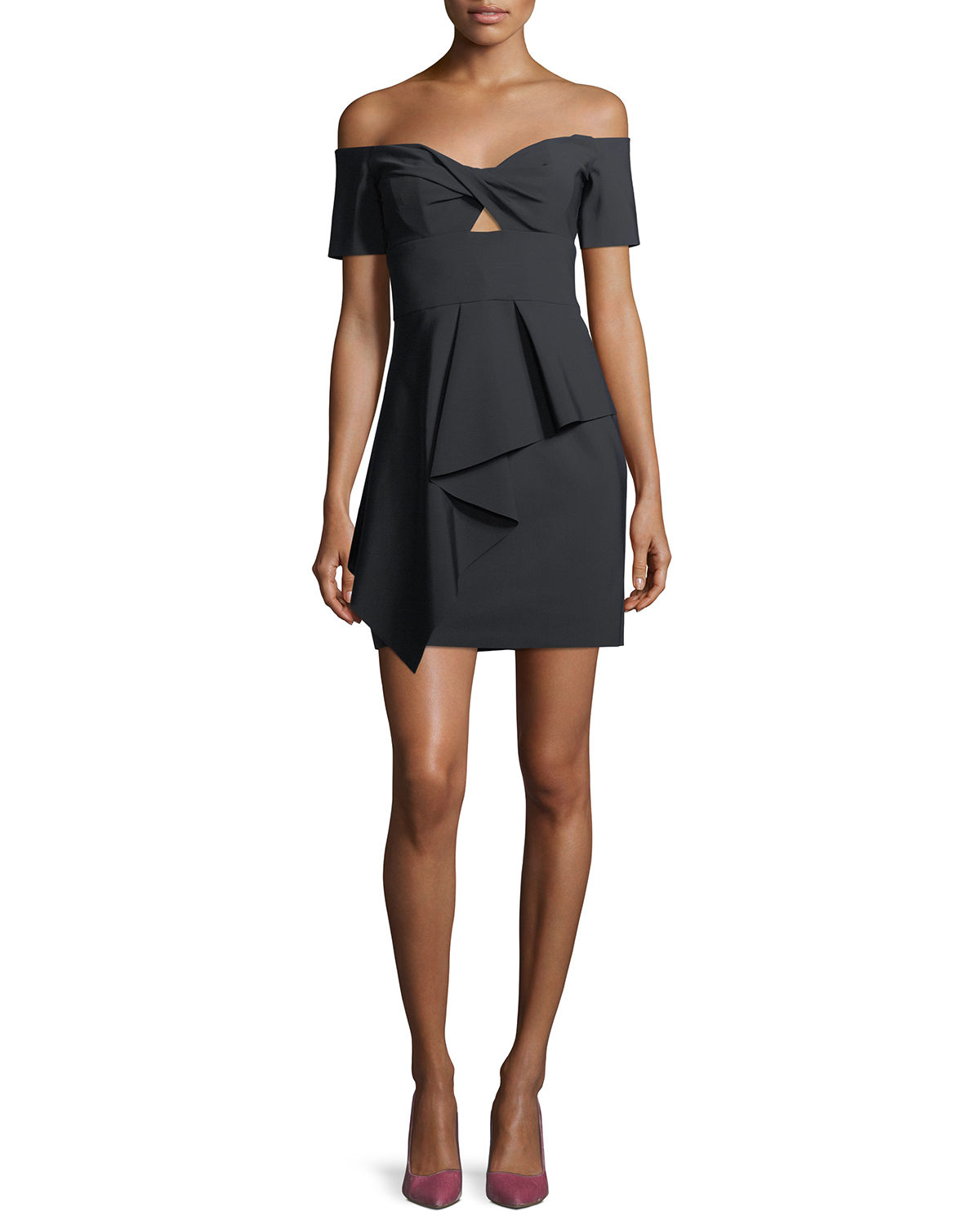 Milly Dresses VANESSA OFF-THE-SHOULDER MINI COCKTAIL DRESS