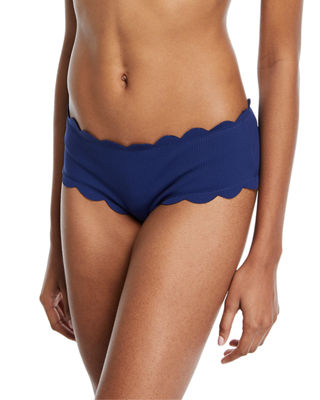 Marysia Spring Scalloped Boy-Cut Bikini Swim Bikini Bottom