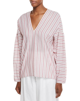 Vince Variegated Stripe Long-Sleeve Pullover Top and Matching