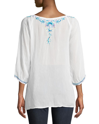 Blue Moon Embroidered Blouse, Plus Size
