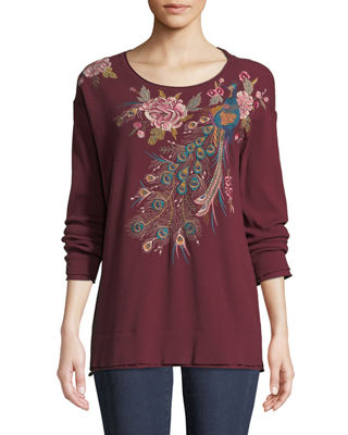 Johnny Was Quito Long-Sleeve Thermal Embroidered Top, Plus
