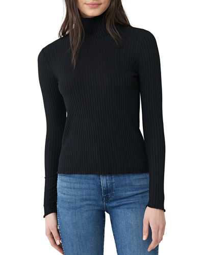 Ribbed Lettuce-Edge Turtleneck Sweater
