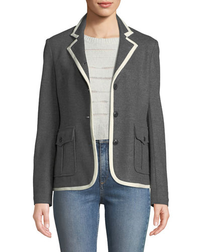 Uni Button-Front Wool Blazer
