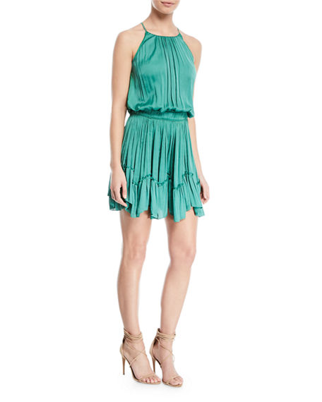 Halston Heritage Sleeveless Roundneck Ruched Flounce Blouson Dress In Cactus