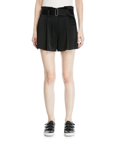 Deliah High-Waist Drapey Sateen Shorts