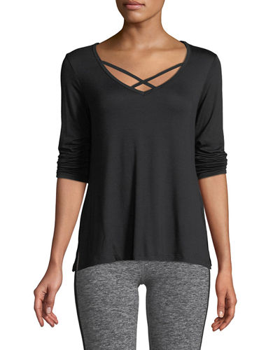 Cross Me Once Long-Sleeve Pullover Top