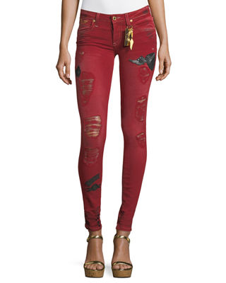 Robin's Jeans Marilyn Distressed Skinny Jeans w/ Patches