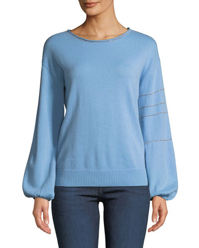Cashmere Blouson-Sleeve Sweater w/ Metallic Chain Trim