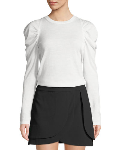 Lidia Crewneck Gathered-Sleeve Stretch-Wool Top