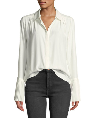 49d1f7ac5b7e9 Quick Look. FRAME · Long-Sleeve Pintuck Button-Front Silk Blouse