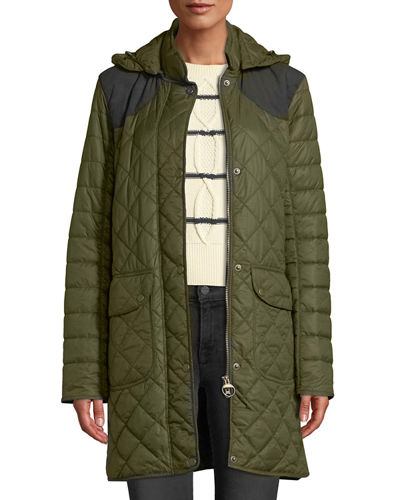 Greenfinch Box-Quilted Jacket w/ Detachable Hood