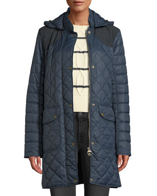 BARBOUR Greenfinch Box-Quilted Jacket W/ Detachable Hood in Navy