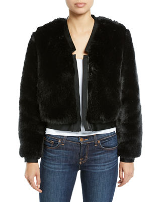 Ashbey Faux-Fur Zip-Front Bomber Jacket in Black