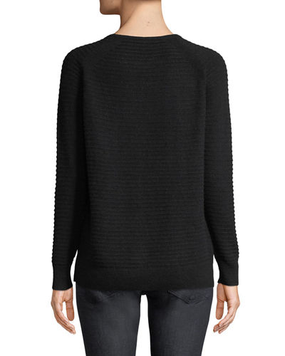 Cashmere Long-Sleeve Crewneck Sweater w/ Lace-Up Detail