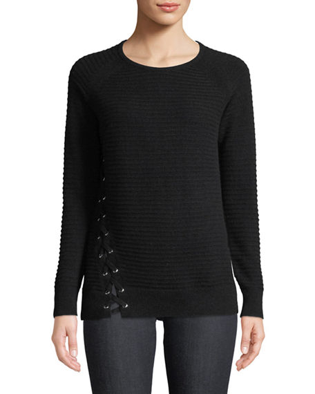 Neiman Marcus Cashmere Collection Cashmere Long-Sleeve Crewneck Sweater w/ Lace-Up Detail