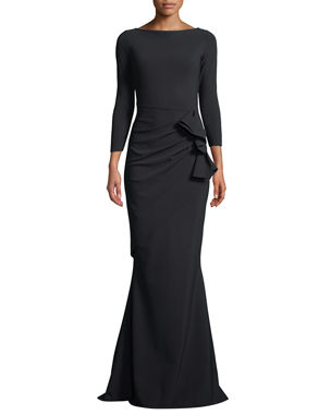 a2a1b5bba5 Chiara Boni La Petite Robe Zelma Side-Draped Mermaid Gown