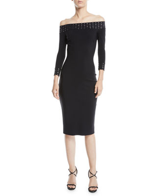 Chiara Boni La Petite Robe Guglielmina Studded Off-the-Shoulder