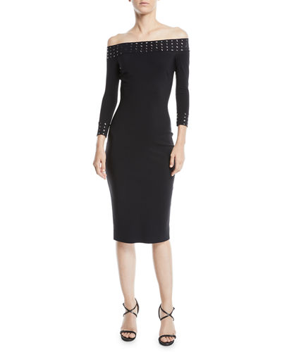 Guglielmina Studded Off-the-Shoulder Bodycon Dress