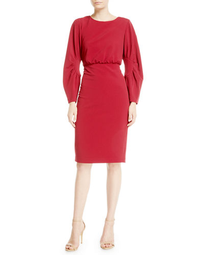 Ruched Long-Sleeve Sheath Dress