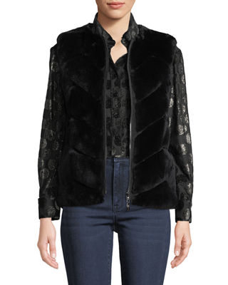 Belle Fare Reversible Rabbit Fur Chevron Vest