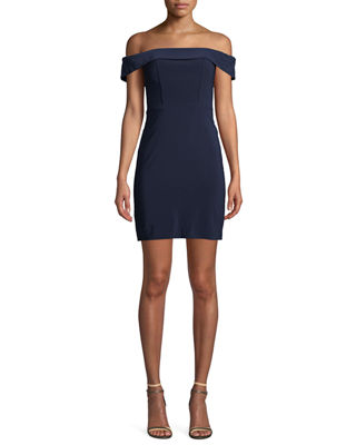 FAVIANA Off-The-Shoulder Mini Dress in Navy
