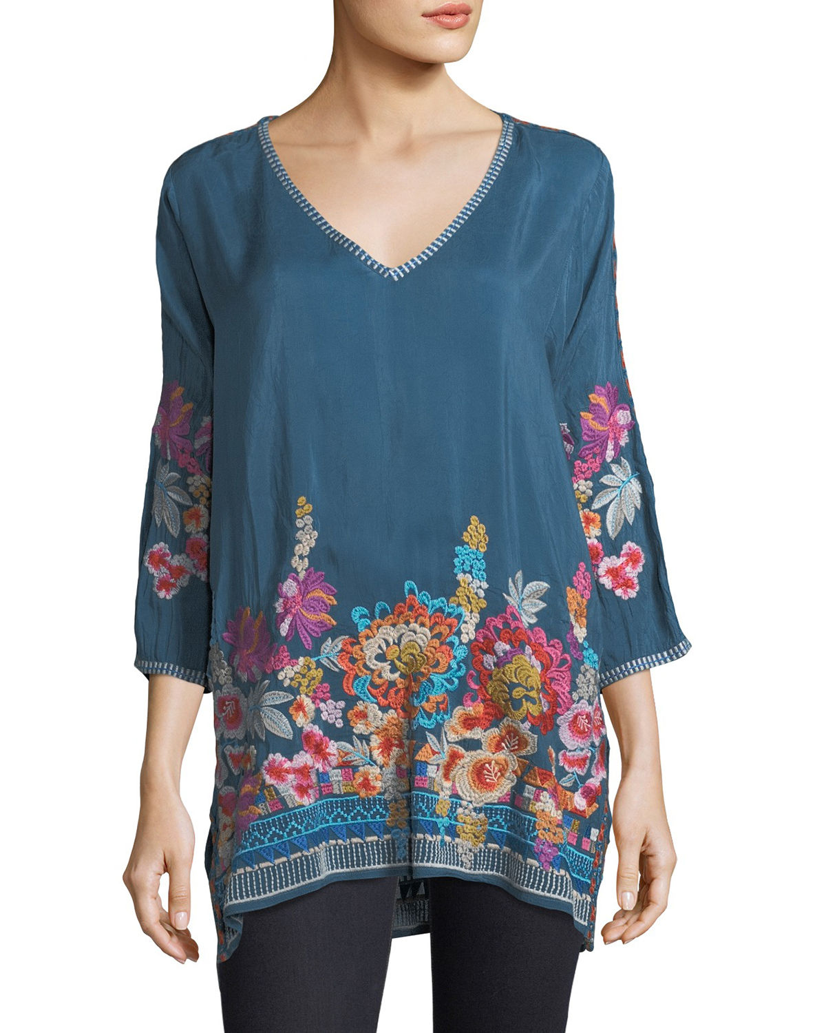 Araxi Floral-Embroidered Tunic, Petite