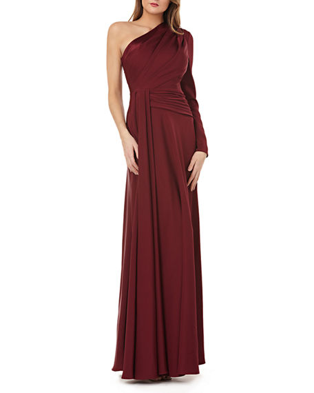 Kay Unger ONE-SHOULDER GOWN W/ DRAPED SASH
