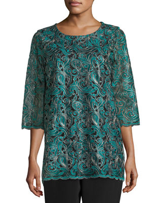 Caroline Rose Lux Embroidered Tunic, Plus Size