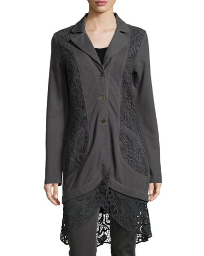 Paisley Crochet-Detailed Jacket