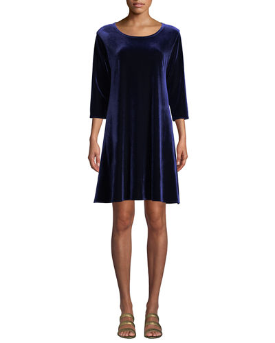 Round-Neck 3/4-Sleeve A-Line Stretch-Velvet Dress