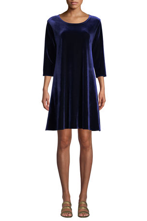 Caroline Rose Plus Size Round-Neck 3/4-Sleeve A-Line Stretch-Velvet Dress