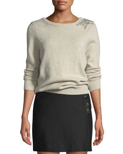 Ourea Embellished Boat-Neck Wool Sweater