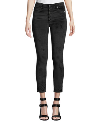 AO.LA BY ALICE + OLIVIA Good High-Rise Button-Fly Velvet Skinny Jeans in Black