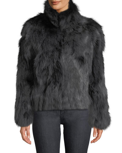 Stand-Collar Fox Fur Jacket