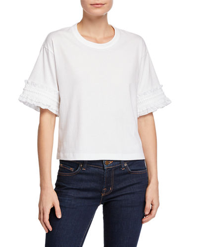 c9b69629c3ae44 Quick Look. See by Chloe · Crewneck Cotton Tee with Frill Sleeves