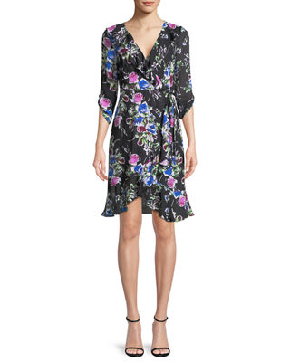 Milly Audrey Rose-Print Georgette Wrap Dress